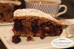 Быстрый простой вишневый шоколадный пирог