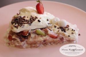 Торт десерт Лайма из зефира и нежного крема с фруктами
