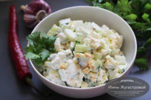 Салат из огурцов и яиц, очень простой