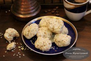 Кунжутное печенье несладкое на растительном масле и водке