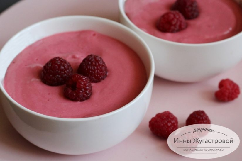 Малиновый творожок, десерт пятиминутка из домашнего творога и свежей малины