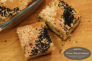 Наливной пирог с сыром и зеленью
