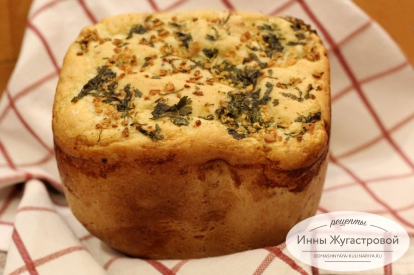 Ароматный чесночный хлеб в хлебопечке, 500 грамм