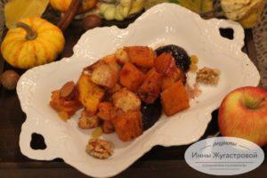 Десерт из тыквы в карамели