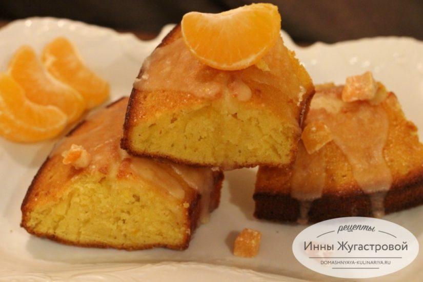 Мандариновый кекс с мандариновой помадкой и добавлением цедры