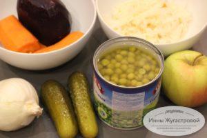 Овощи и фрукты для винегрета