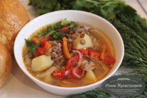 Суп из индейки с чечевицей