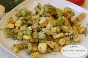 Кабачки с адыгейским сыром, теплый салат