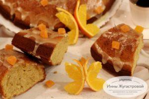 Апельсиновый кекс с апельсиновой помадкой и цедрой