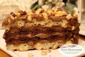 Торт из вафель со сметанным шоколадным кремом