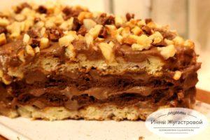 Вафельный торт со сметанно-шоколадным кремом