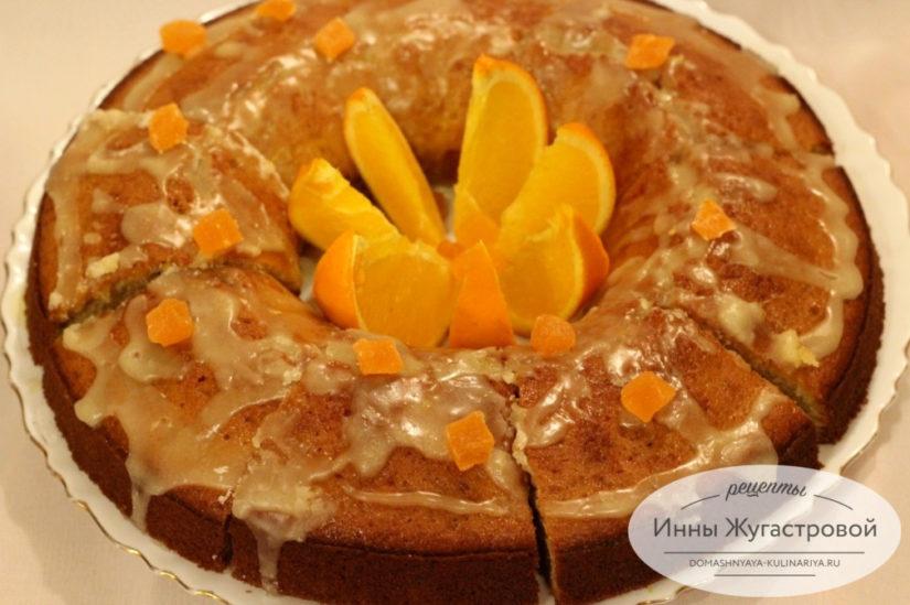 Ароматный апельсиновый кекс с цедрой и апельсиновой помадкой