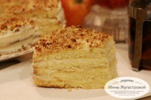 Бисквитный торт с яблочно-сметанным кремом
