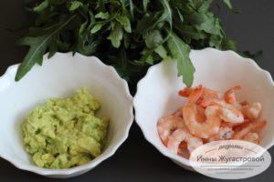 Паста авокадо и креветки