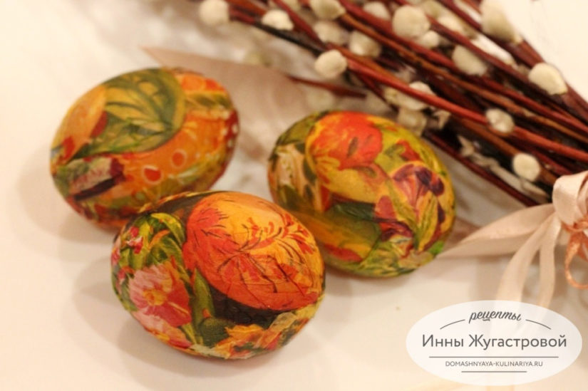 Декупаж пасхальных яиц, самое простое пасхальное украшение