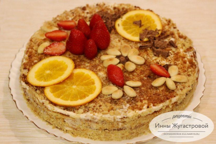 Бисквитный торт Вечерний с кремом из сгущенки и сметаны, простой и вкусный