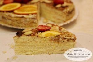 Бисквитный торт с кремом из сметаны и сгущенки