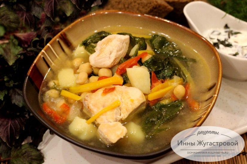 Суп с нутом и шпинатом из курицы