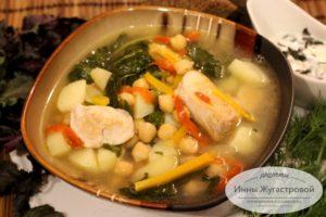 Суп с курицей и нутом