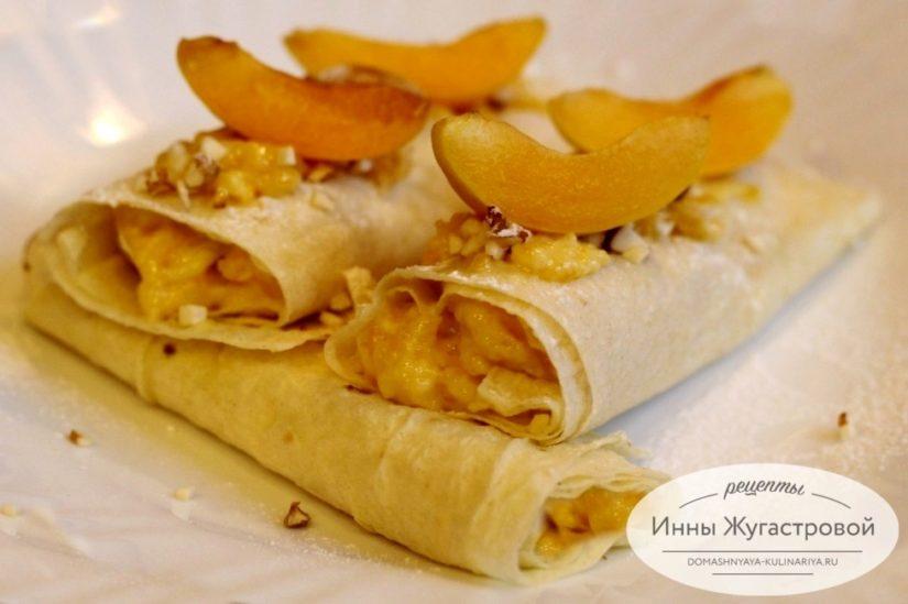 Трубочки из лаваша с абрикосовым кремом, простой десерт без выпечки
