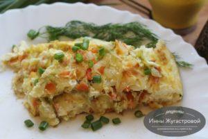 Омлет со сметаной и сыром из тушеной капусты