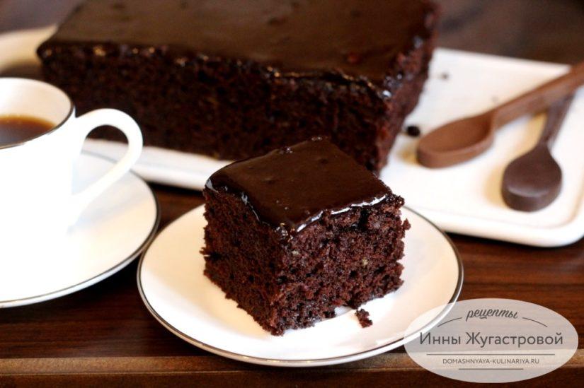 Брауни с кабачком, шоколадный десерт с шоколадной глазурью