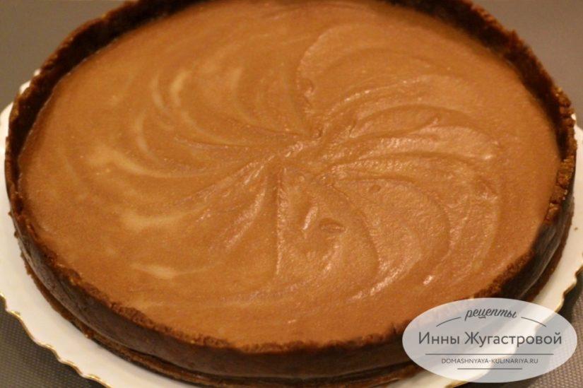 Шоколадный творожный чизкейк без выпечки и желатина