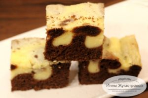 Шоколадно творожный бисквит