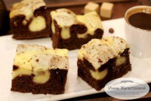 Шоколадный бисквит с творожной начинкой