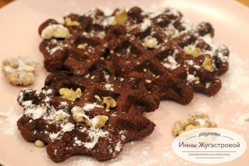 Шоколадные вафли Брауни с горьким шоколадом и добавлением кофе