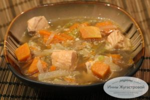 Суп из семги с дайконом