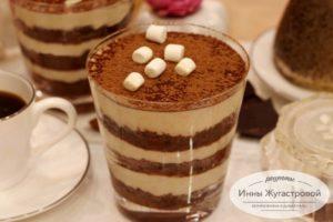Шоколадный десерт с банановым кремом