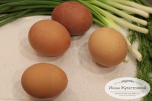 Яйца, лук, зелень