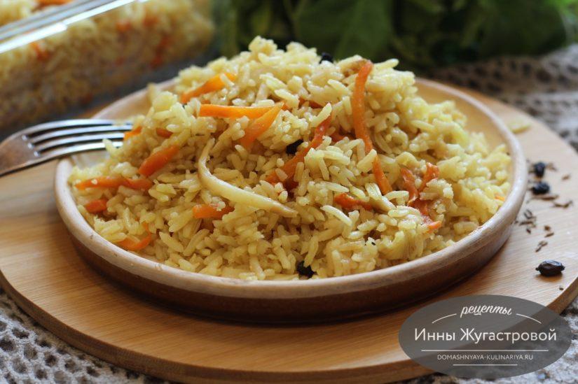 Рассыпчатый рис с кореньями (постный плов) в мультиварке Редмонд
