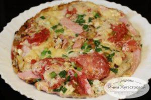 Ленивая пицца из лаваша на сковороде