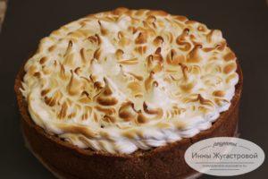 песочный лимонный торт с меренгой