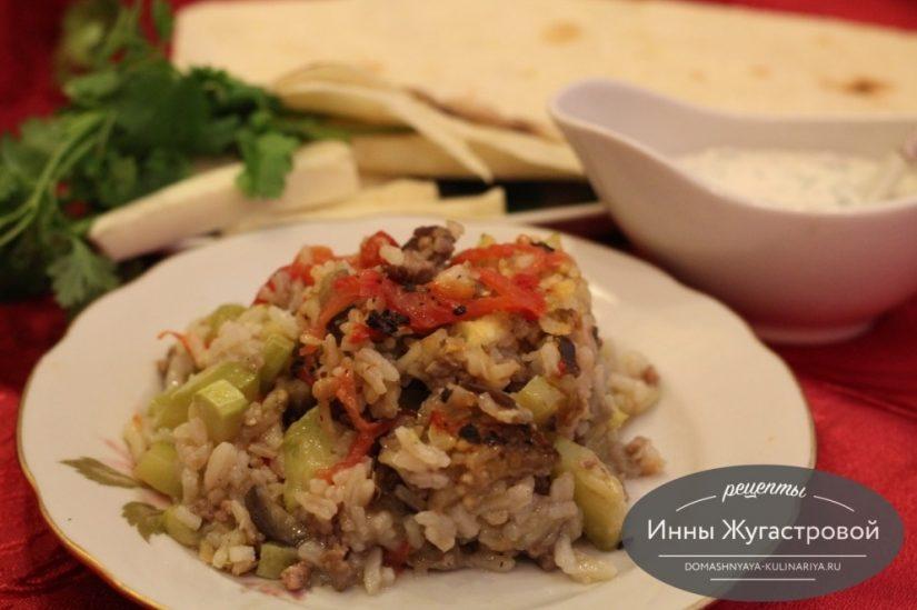 Мусаха из говядины и овощей с рисом в микроволновке