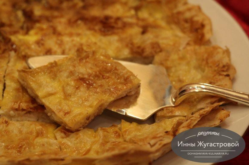Баница, простой вкуснейший пирог из лаваша с сырно-творожной начинкой