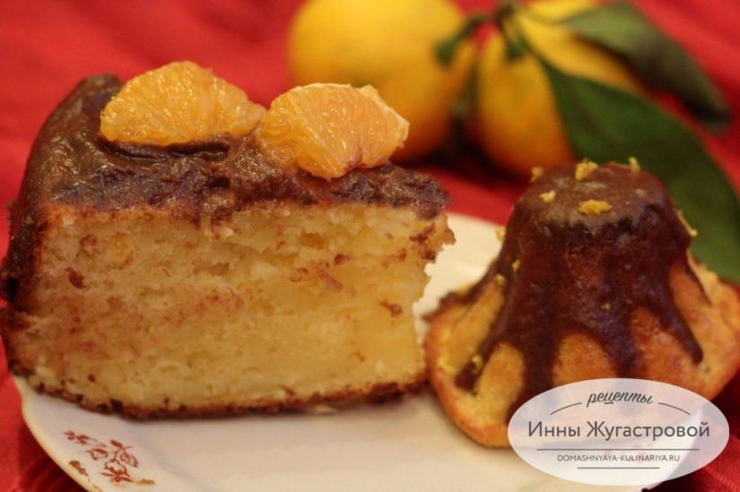 Лимонный кекс на творожном тесте с шоколадной помадкой, нежный, вкусный и простой