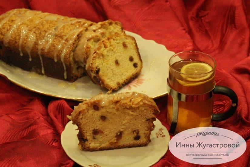 Ванильный кекс с изюмом и сливочной помадкой, вкусный и простой