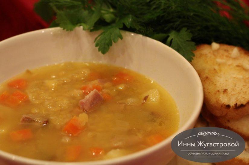 Гороховый суп на копченых ребрышках, вкусный и ароматный