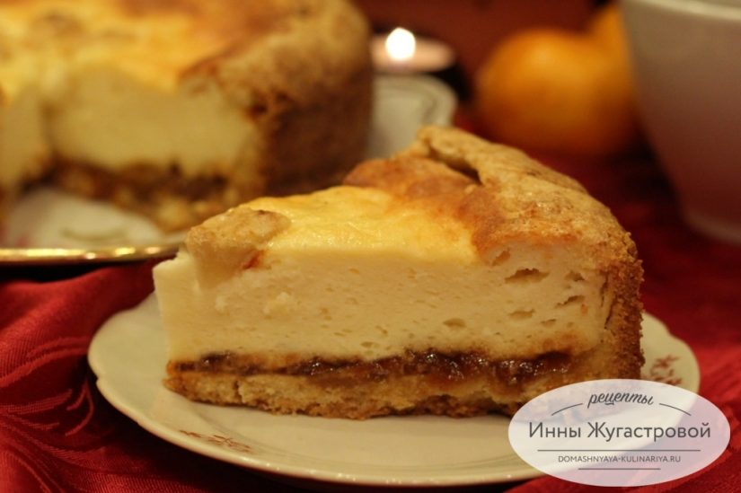 Пирог Лакомка с творогом и абрикосовым джемом