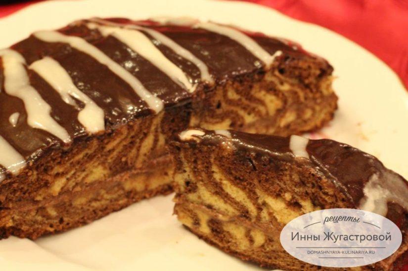 Торт Мраморный (Зебра) со сливочно-банановым кремом и двухцветной глазурью
