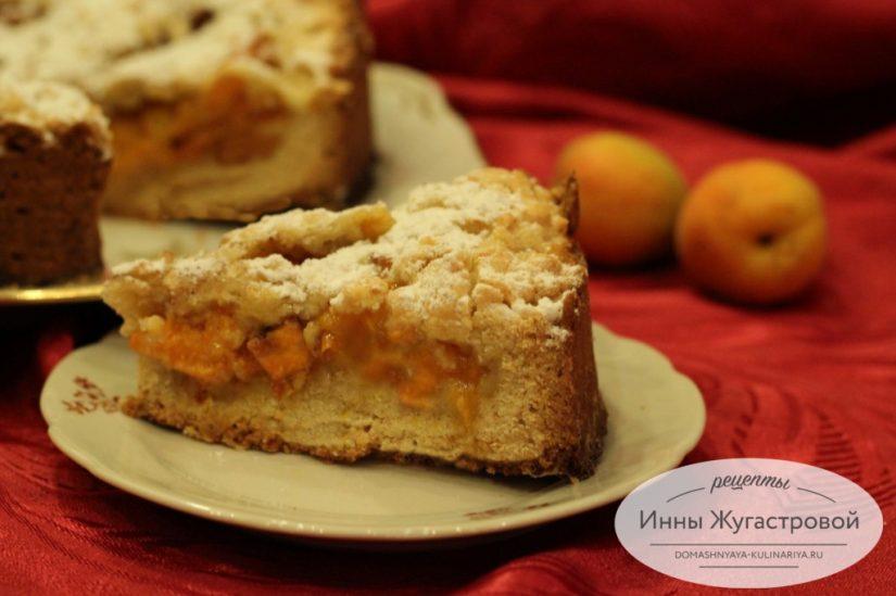 Песочный пирог Ванины кудри с абрикосами и тертой верхушкой