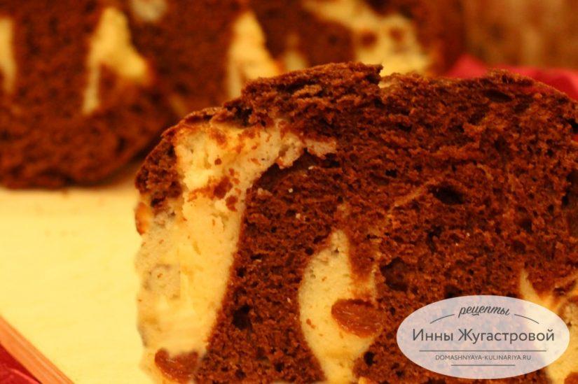 Мраморный шоколадно-творожный кекс с изюмом, нежный, вкусный, красивый