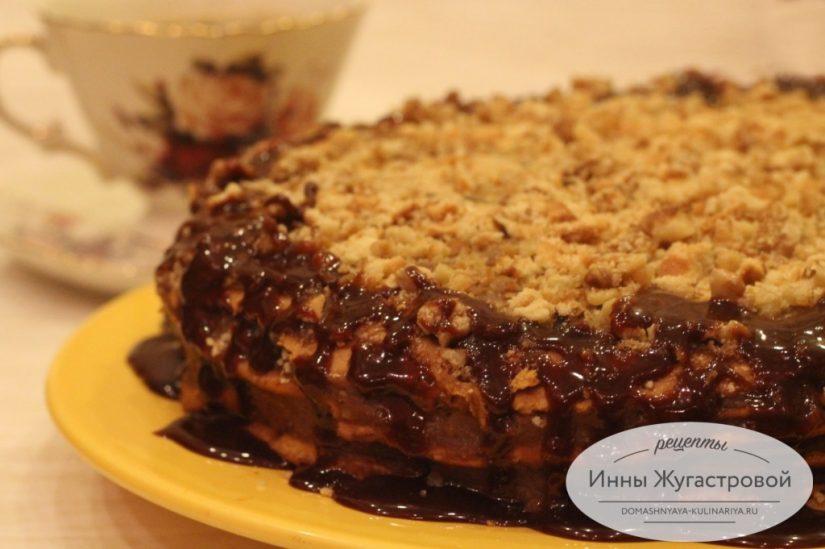 Торт Парижанка. Медовик с заварным шоколадным кремом