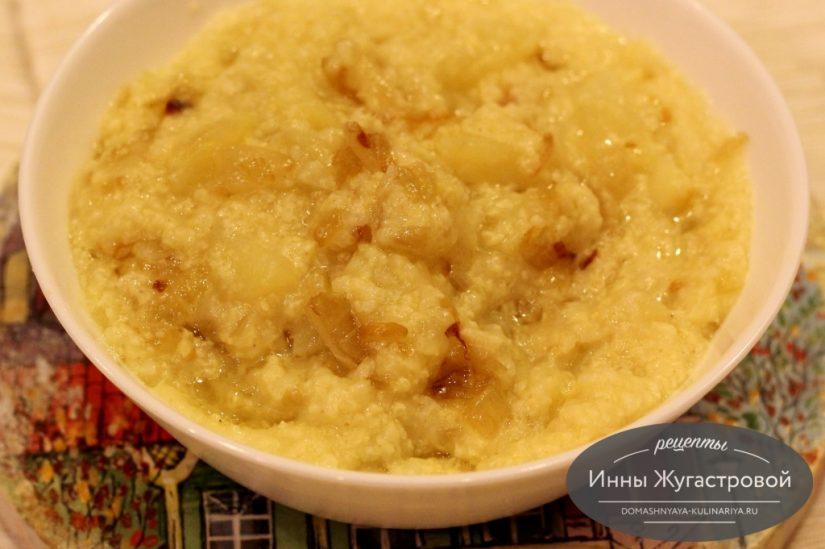 Пшенная каша с картофелем и луком