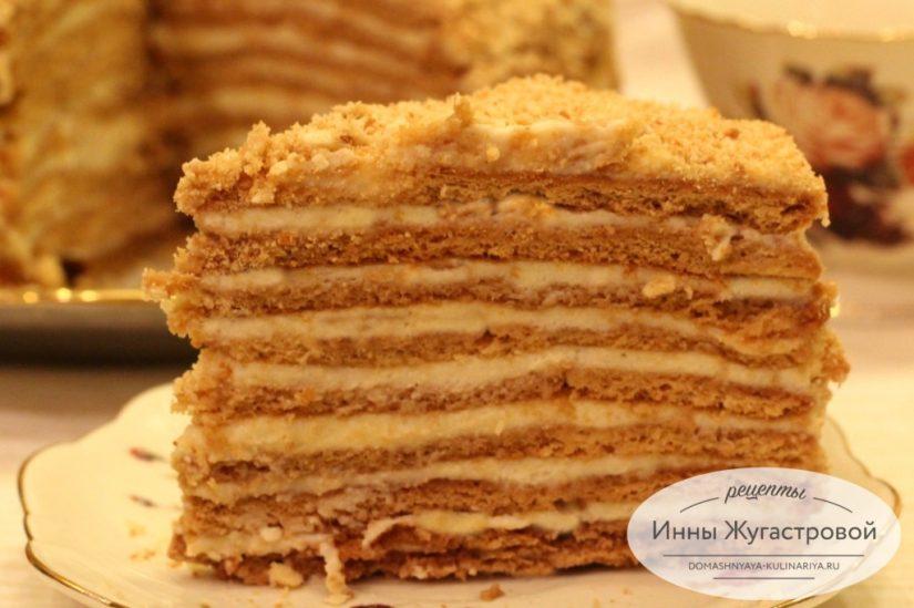 Медовый торт Рыжик с кремом из масла, сметаны и сгущенки