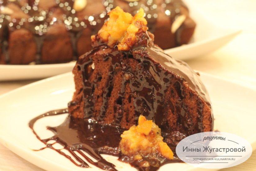 Шоколадный кекс из какао и шоколада с шоколадной помадкой