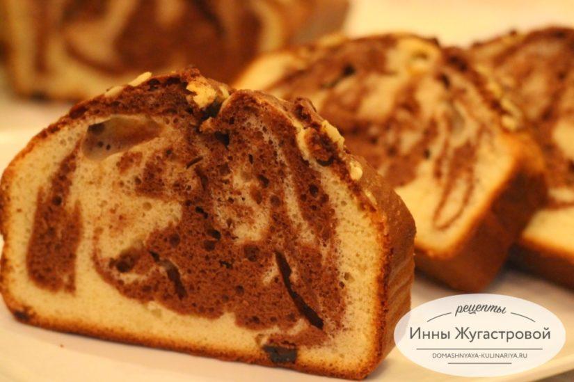 Мраморный кекс-пятиминутка на сгущенном молоке